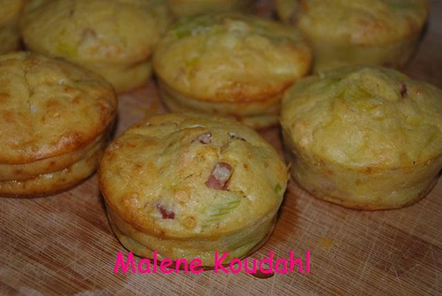 Muffins porre og bacon